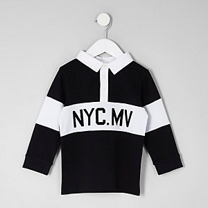 Polo de rugby «NYC» noir mini garçon