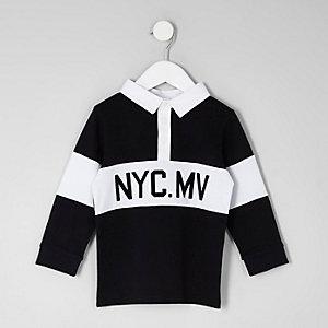 Mini - Zwart rugbyshirt met 'NYC'-print voor jongens