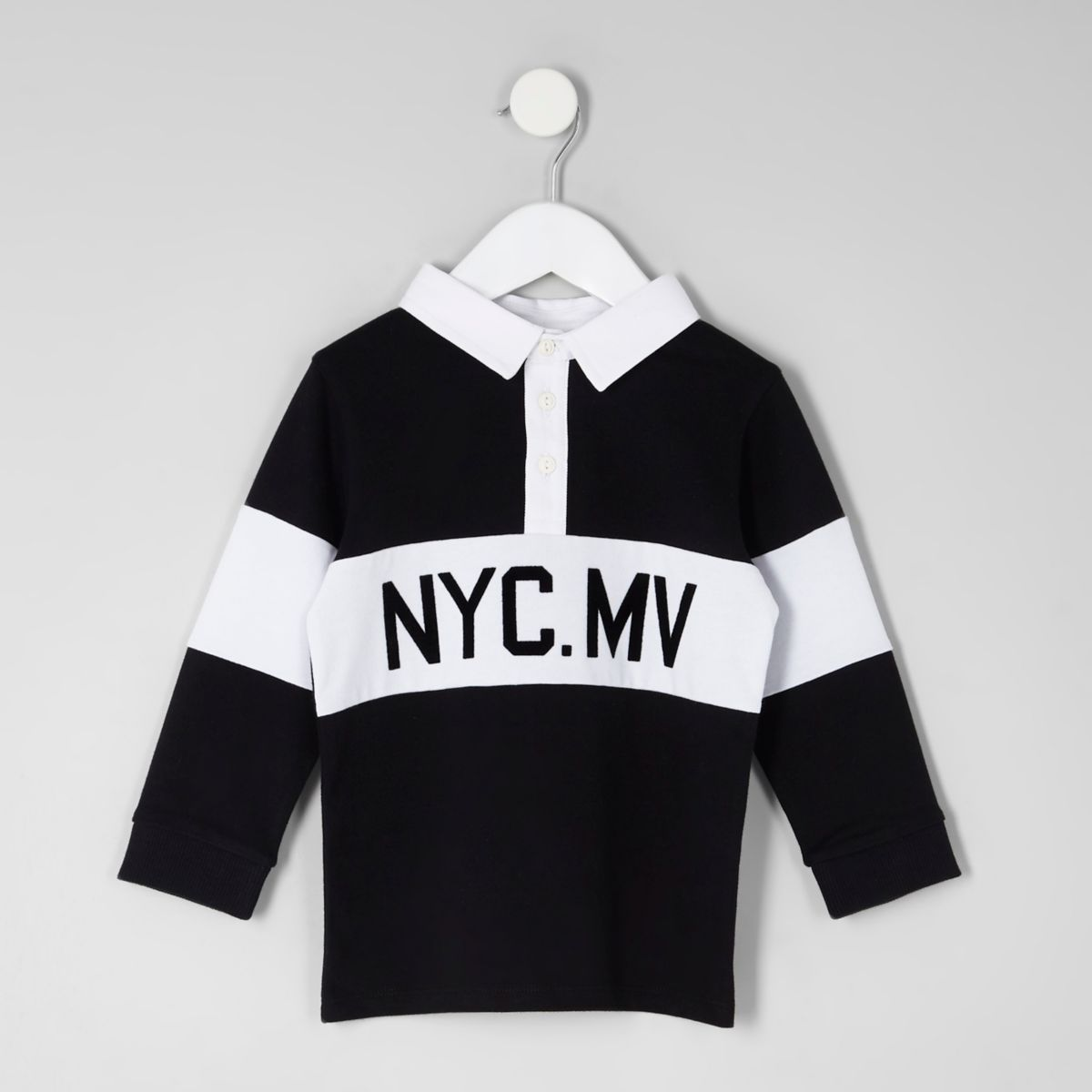 Mini boys black 'NYC' rugby polo shirt