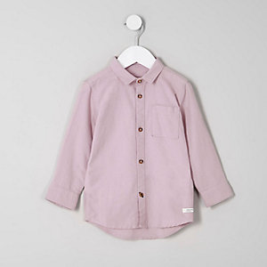 Mini boys pink long sleeve Oxford shirt