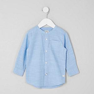 Mini - Blauw overhemd zonder kraag voor jongens