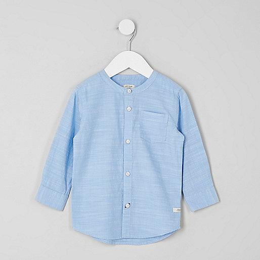 Mini boys blue grandad shirt