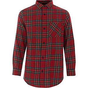Boys red check long sleeve shirt