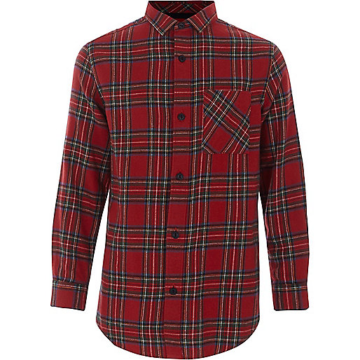 Boys red check long sleeve shirt