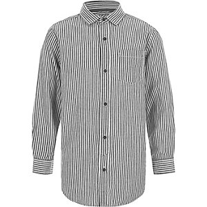 Boys dark grey stripe long sleeve shirt