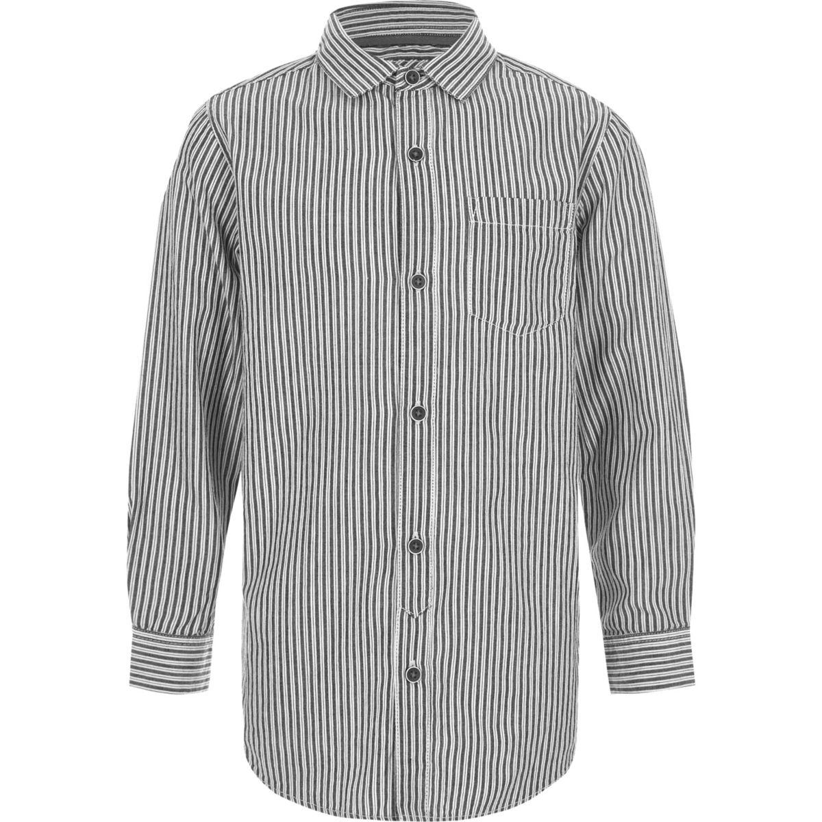 Chemise rayée gris foncé à manches longues pour garçon