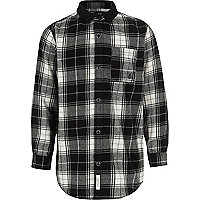 Boys black check long sleeve shirt