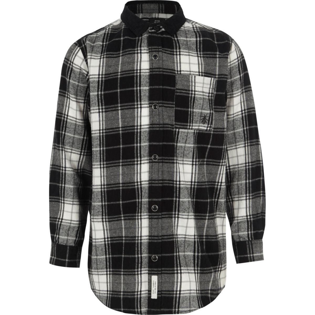 Boys black check long sleeve shirt