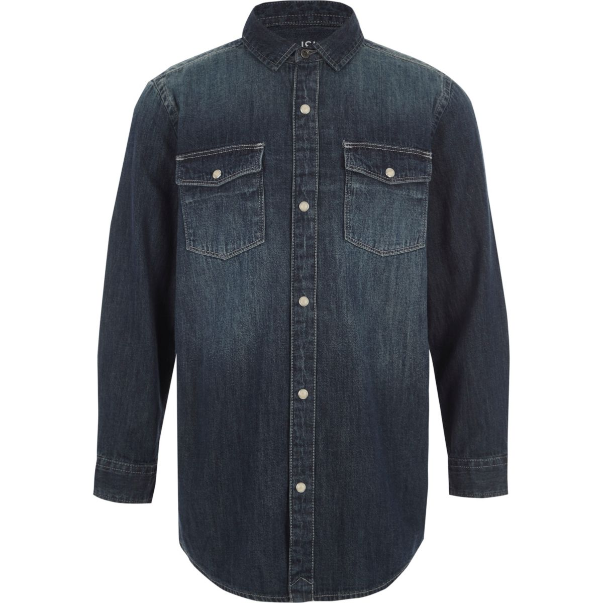 Boys blue long sleeve denim shirt
