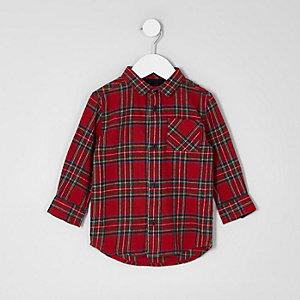 Mini boys red tartan check shirt