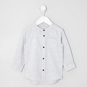 Mini - Kiezelkleurig overhemd met visgraatmotief zonder kraag voor jongens