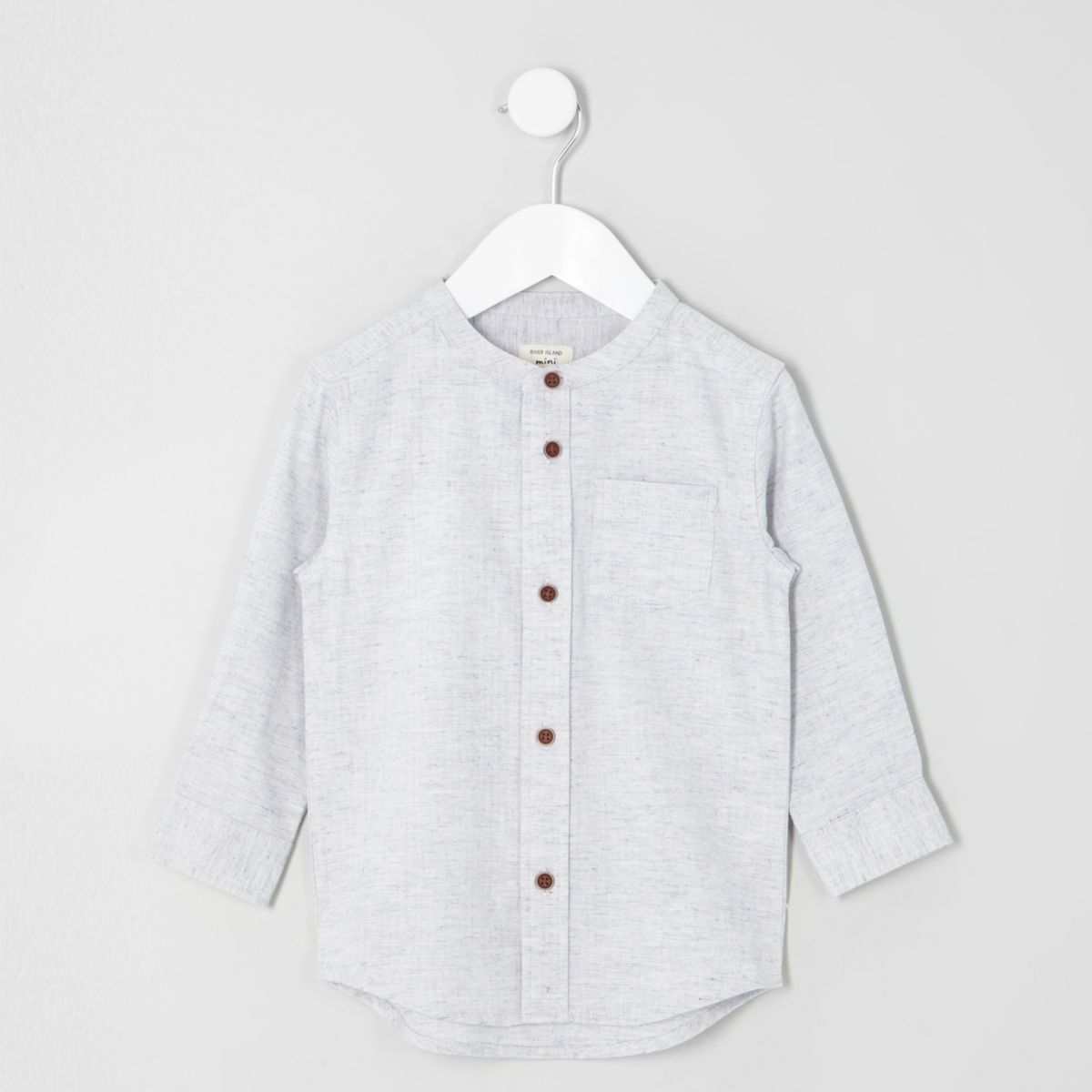 Mini boys stone herringbone grandad shirt