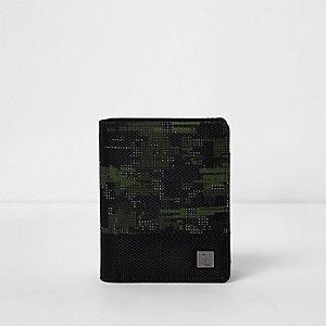Zwarte portemonnee met camouflageprint voor jongens