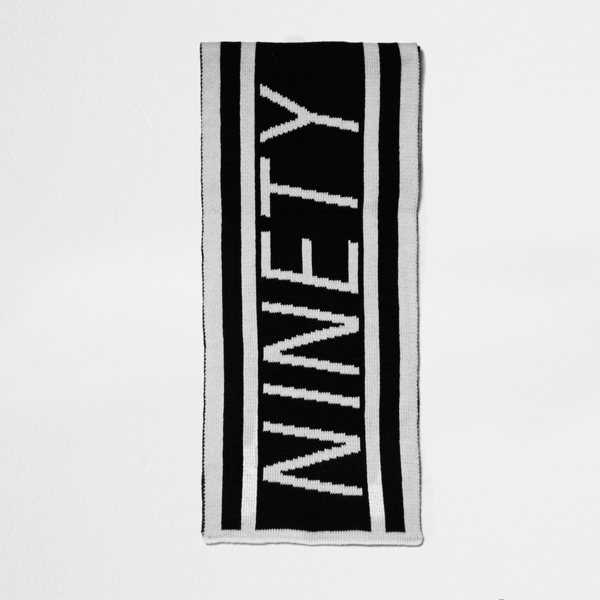 Boys black knit 'ninety' football scarf
