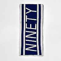 Boys blue knit 'ninety' football scarf