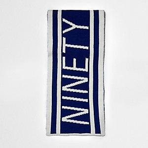 Écharpe de football «ninety» en maille bleue pour garçon