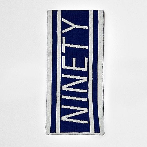 Boys blue knit 'ninety' football scarf