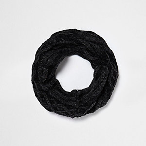 Boys grey washed cable knit snood
