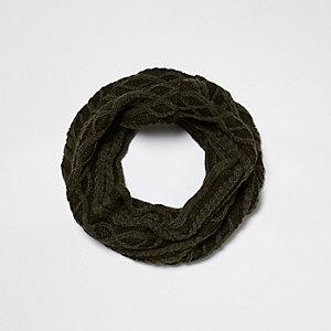 Kakigroene washed cirkelsjaal voor jongens