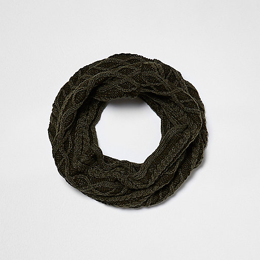 Boys khaki green washed cable knit snood