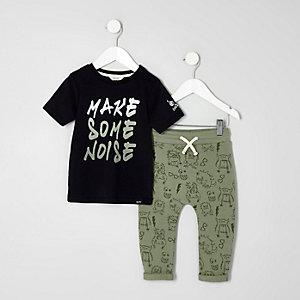 Mini - Outfit met T-shirt en joggingbroek met monsterprint voor jongens