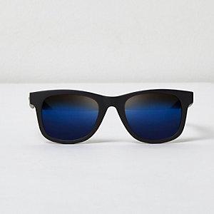 Lunettes de soleil rétro noires à verres bleus pour garçon