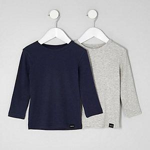 Mini - Multipack grijs en marineblauw T-shirt voor jongens