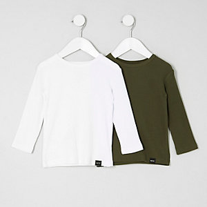 Mini boys white and khaki T-shirt multipack