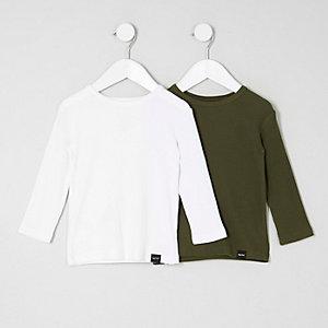 Mini - Multipack wit en kaki T-shirt voor jongens