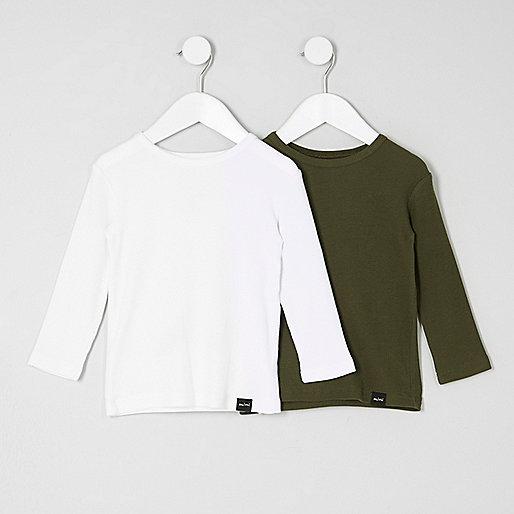 Mini boys white and khaki T-shirt multipack