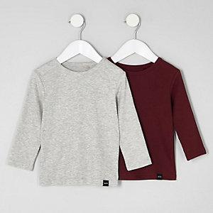 Mini - Multipack met grijs en rood T-shirt voor jongens