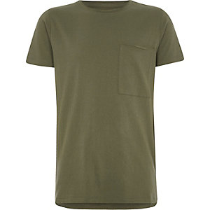 Boys khaki green pocket crew neck T-shirt