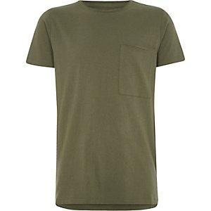 Kakigroen T-shirt met ronde hals en zak voor jongens