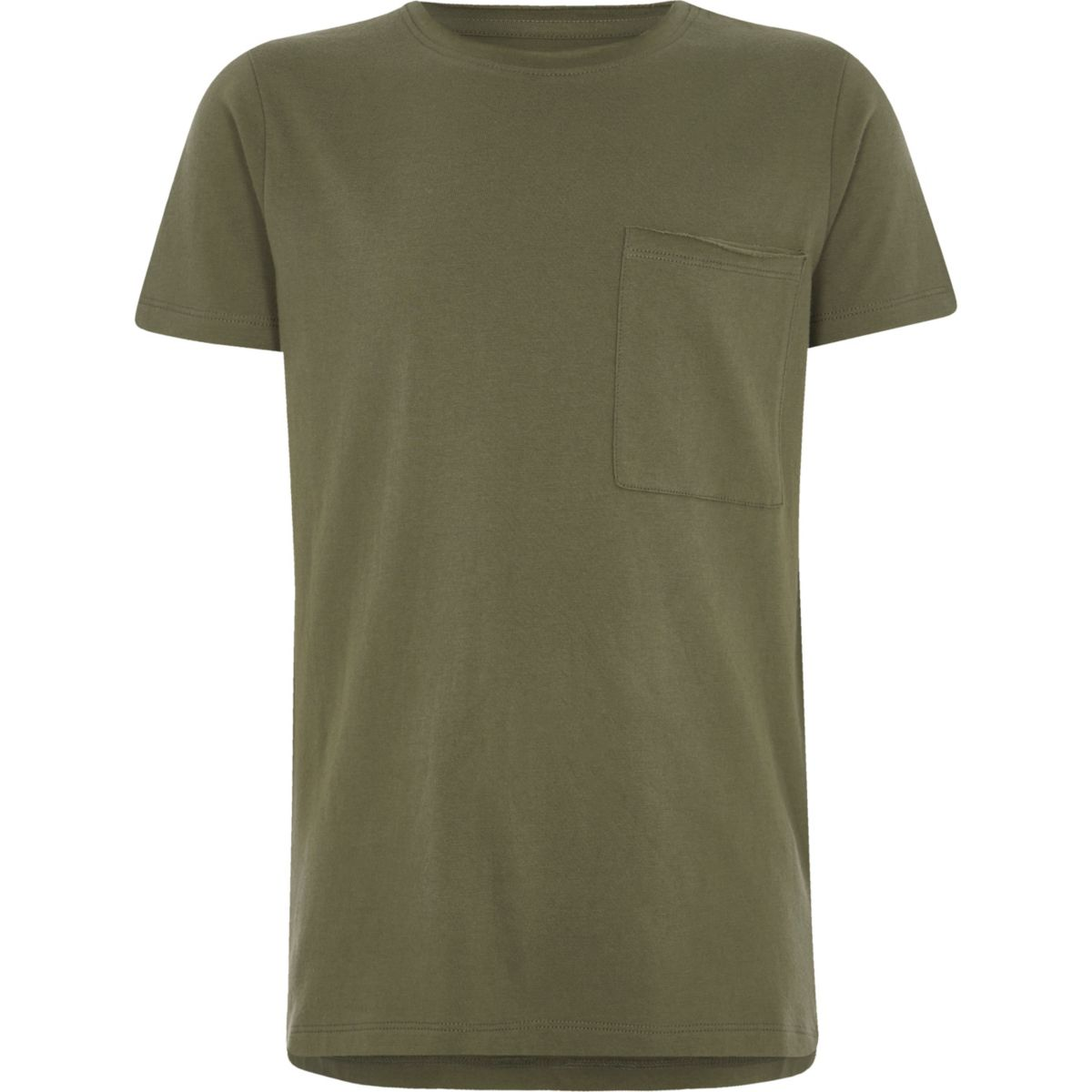 Boys khaki green pocket crew neck T-shirt