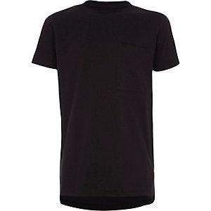 Schwarzes, kurzärmliges T-Shirt mit Rundhalsausschnitt