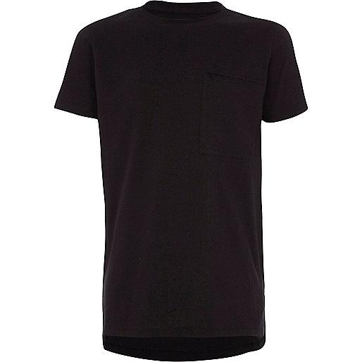 Boys black short sleeve crew neck T-shirt