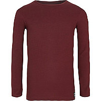 Boys dark red ribbed long sleeve T-shirt