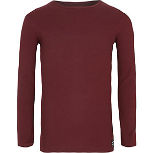 Boys dark red ribbed long sleeve T-shirt