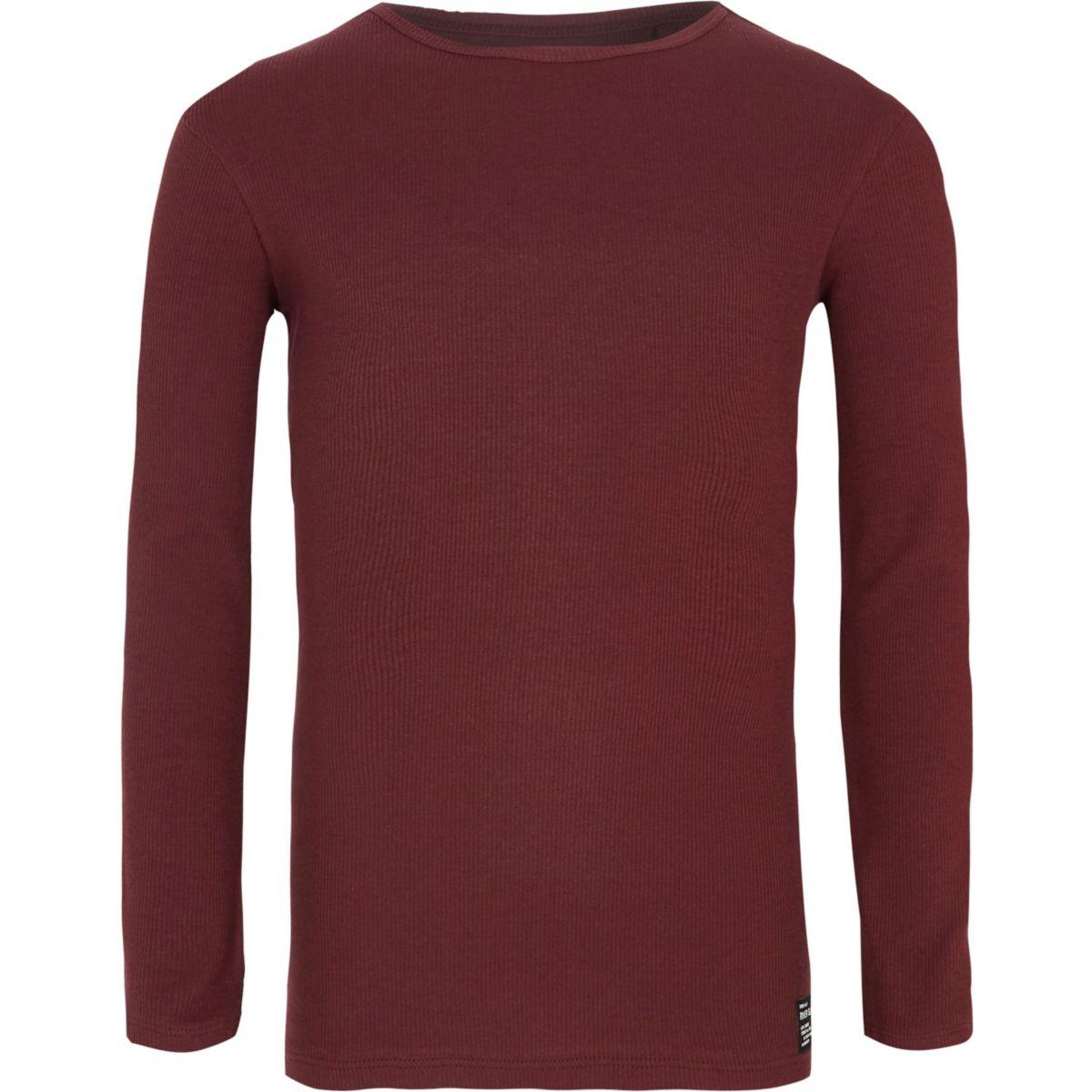 Boys dark red ribbed long sleeve t shirt long sleeve t for Ribbed long sleeve shirt