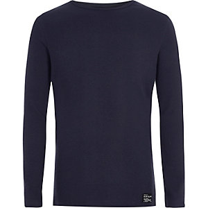Boys navy ribbed long sleeve T-shirt