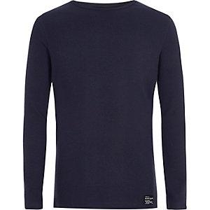 Marineblauw geribbeld T-shirt met lange mouwen voor jongens