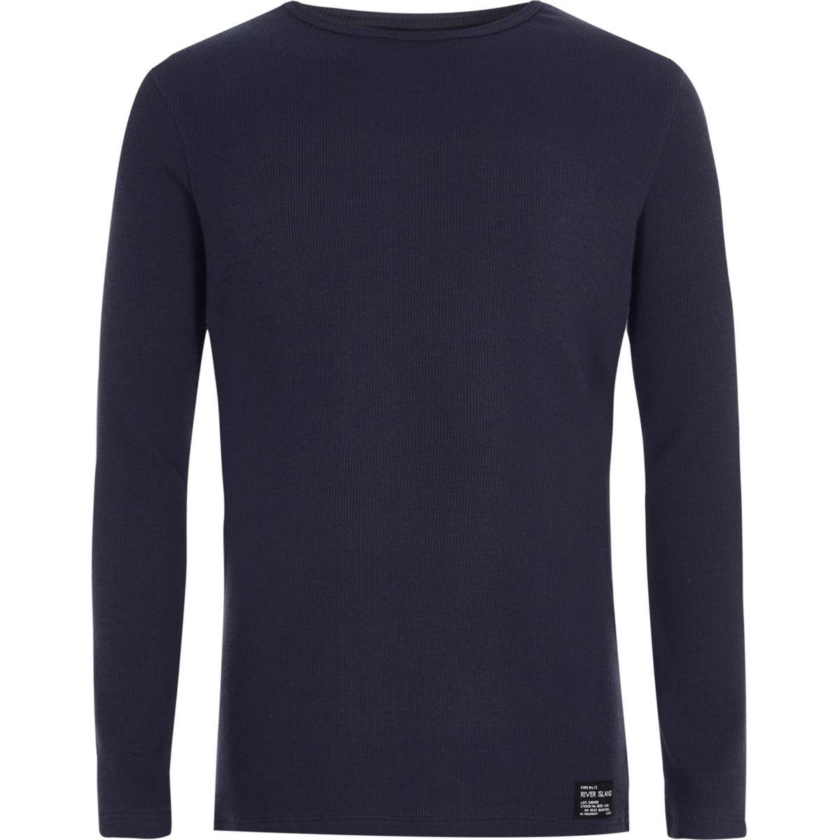 Boys navy ribbed long sleeve T-shirt