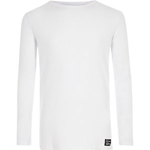 Boys white ribbed long sleeve T-shirt