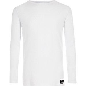 Wit geribbeld T-shirt met lange mouwen voor jongens