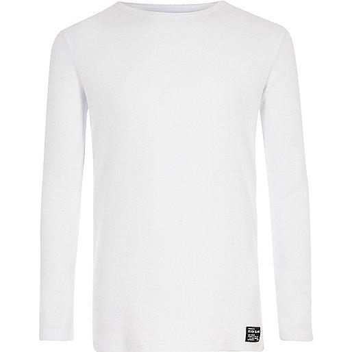 Boys white ribbed long sleeve T-shirt