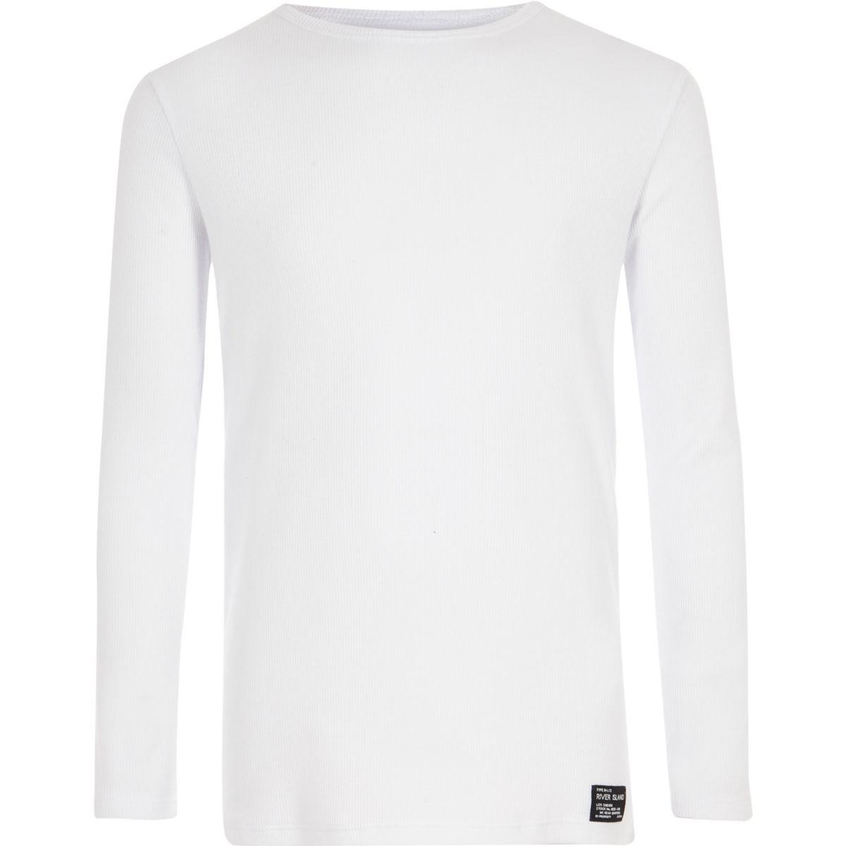 Boys white ribbed long sleeve t shirt long sleeve t for Ribbed long sleeve shirt