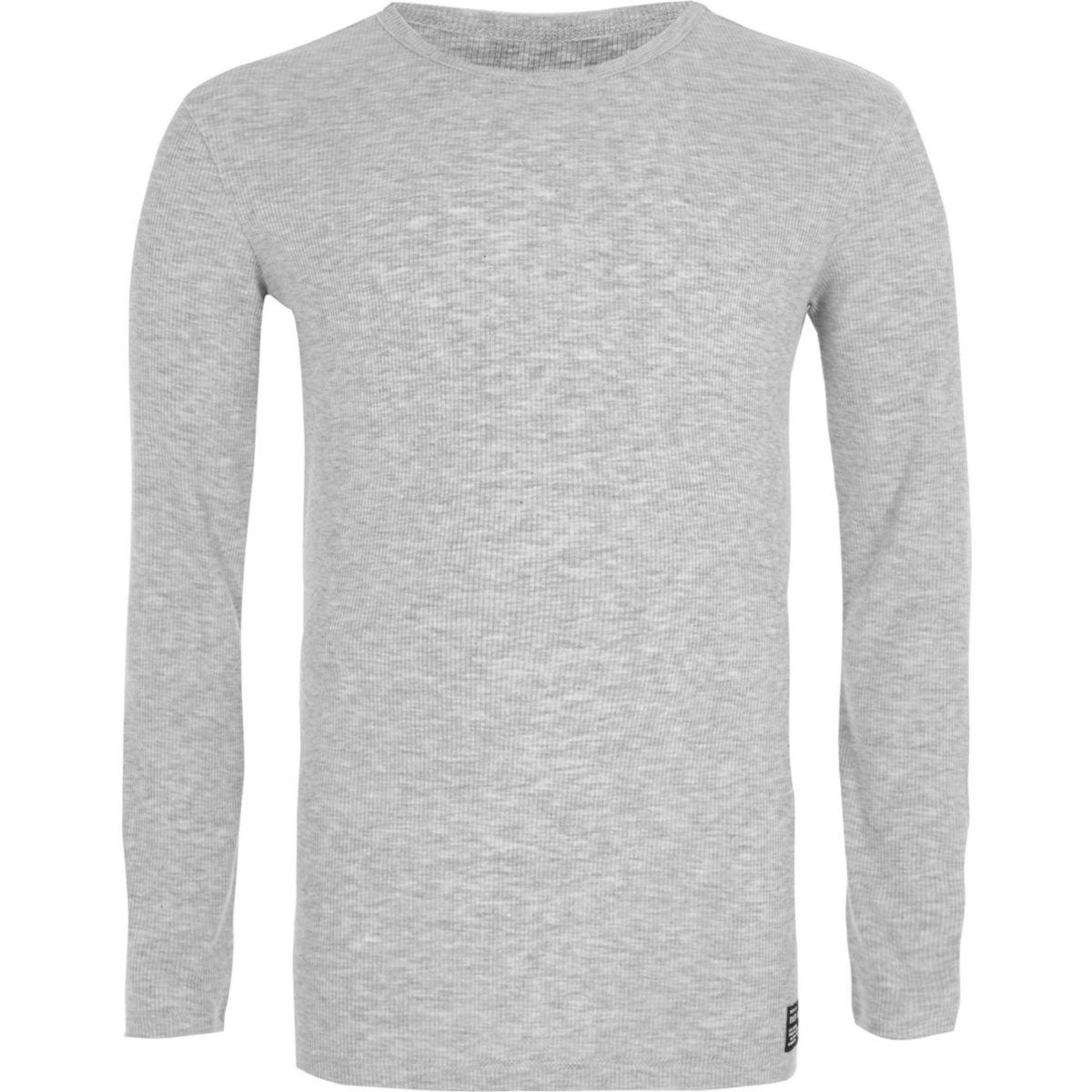 T-shirt gris chiné côtelé à manches longues pour garçon