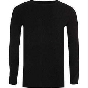 T-shirt côtelé noir à manches longues pour garçon