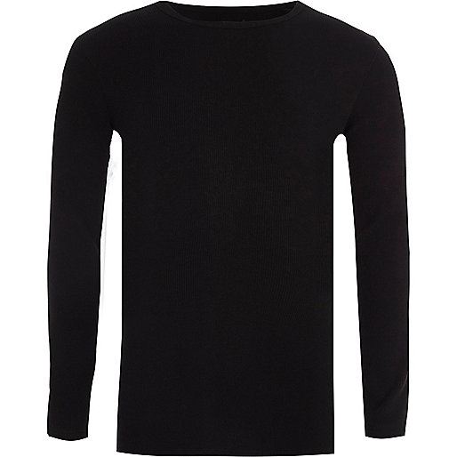 Boys black ribbed long sleeve T-shirt