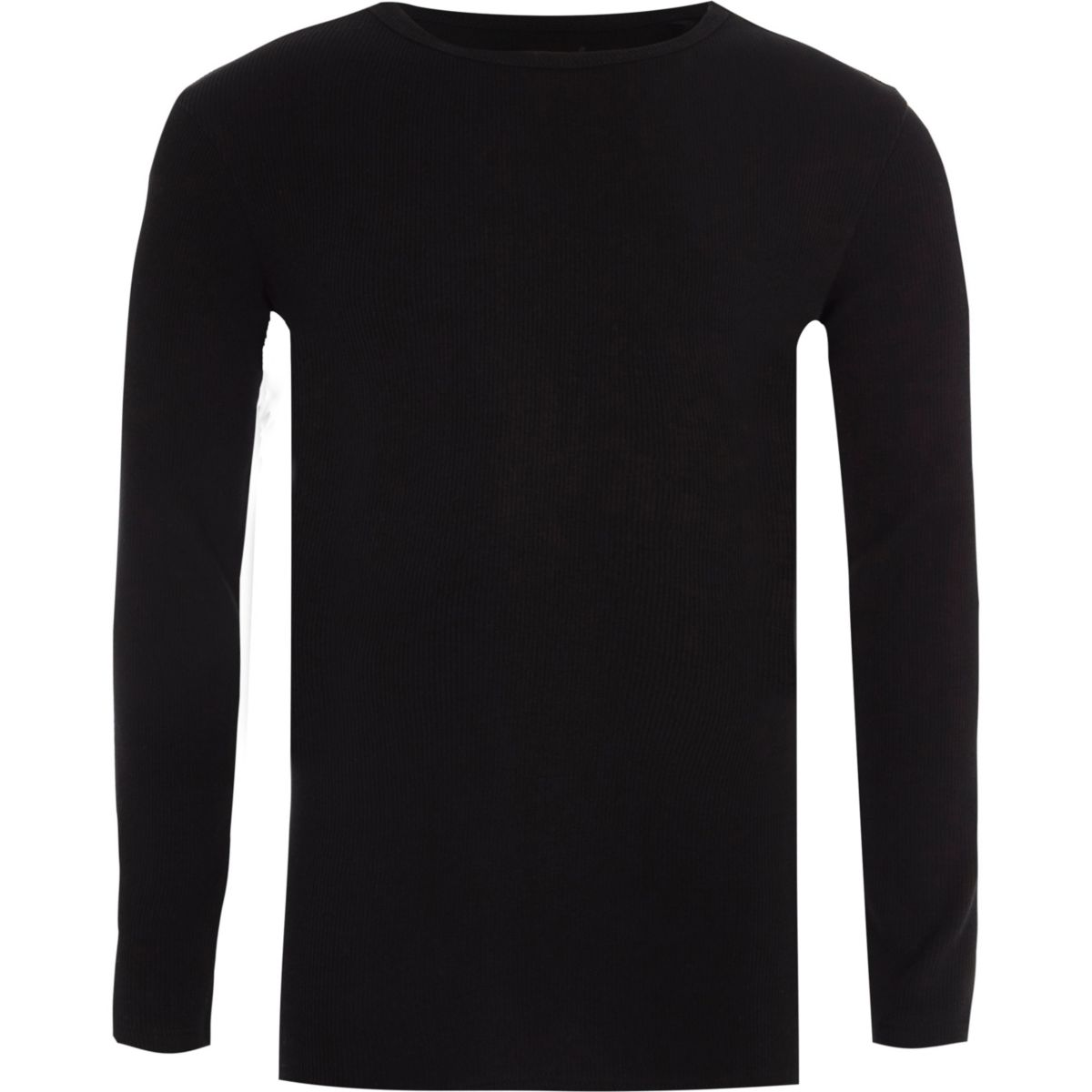 Boys black ribbed long sleeve T-shirt